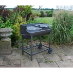 Large Open Top Rectangle Half Barrel Charcoal Barbecue