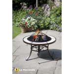 La Hacienda Tuscany Bronze Cream Tiled Steel Firepit With Grill