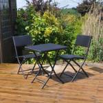 Kingfisher Rattan Effect Table and 2 Chairs Bistro Set