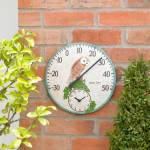 Kingfisher 12 Inch Owl Thermometer Clock