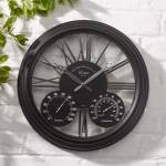 Exeter Black Outdoor Garden Clock and Thermometer
