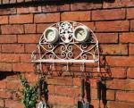 Antique Vintage Garden Shelf Clock and Thermometer