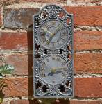 Westminster Outdoor Garden Clock and Thermometer