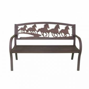 Gardeco Running Horses Cast Iron Bench