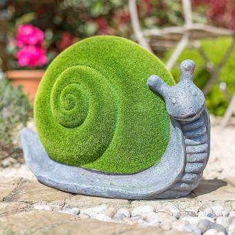 La Hacienda Flocked Snail Garden Ornament