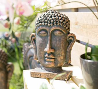 La Hacienda Large Resin Male Buddha Head on Base