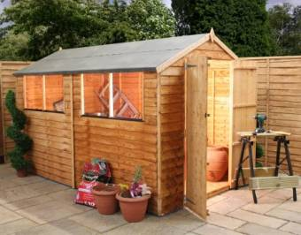 10ft x 6ft Overlap Apex Garden Shed - Double Door