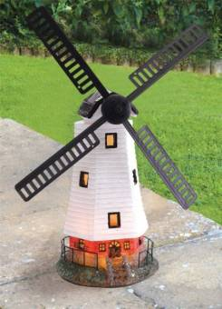 Solar Powered Garden Windmill Light