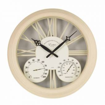 Exeter Cream Outdoor Garden Clock and Thermometer