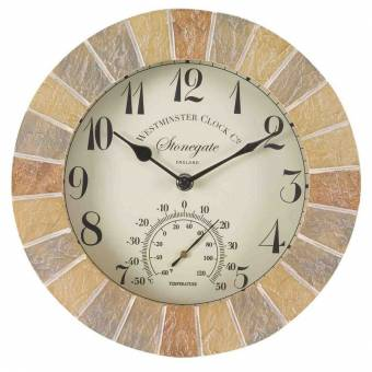 Stonegate Sandstone Outdoor Garden Clock and Thermometer