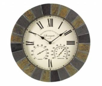 Stonegate Slate Effect Outdoor Garden Clock and Thermometer