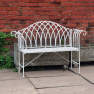 Vintage Cream 4FT (Foot) Wrought Iron Garden Bench
