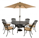 Norfolk Leisure Round Cast Aluminium 6 Seater Dining Set