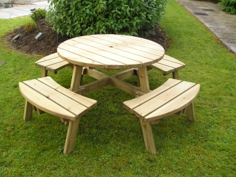 Athol Chunky 8 Seater Compact Round Picnic Table Wooden Garden Furniture